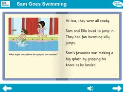 Sam Goes Swimming Interactive Storybook - Early Reader Level - PSHE KS1