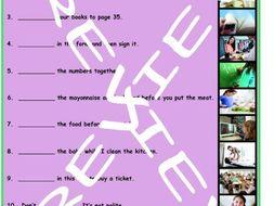 Imperatives 3 Photo Worksheet Set