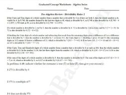 Basic Algebra Worksheet 3 – Pre-Algebra Review - Divisibility Rules 2