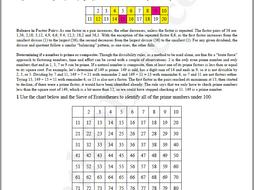 Basic Algebra Worksheet 5b - Prime & Composite Numbers - The Sieve of Eratosthenes
