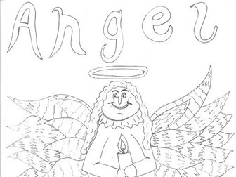 christmas angel colouring page