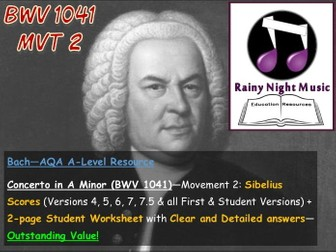 AQA A Level Music Bach Concerto in A Minor Analysis and Worksheet for Movement 2