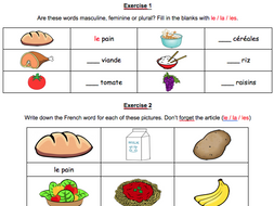 French Food Vocabulary Revision Worksheet And Test By Misssanglier