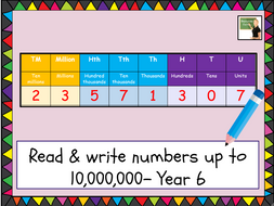 Maths- Number and Place Value Year 6 lesson - read and write numbers up to  10 000 000