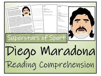 UKS2 Literacy - Diego Maradona Reading Comprehension Activity