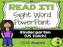 kindergarten sight word dolch powerpoint presentation 52 words