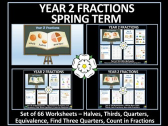 Fractions - Year 2 - Spring Term - 66 Worksheets Bundle - White Rose Maths Style