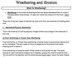 Weathering Erosion Information Pack Worksheet Ideal For Cl Activity Revision Lesson Or