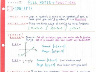 IB Maths SL - Topic 2 Functions - Notes