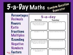 Maths 5-a-day Worksheet Creator