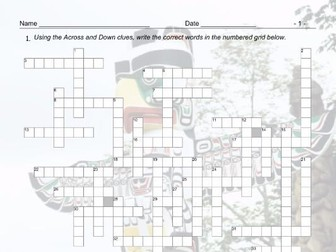 Art Forms Crossword Puzzle and Answer Key