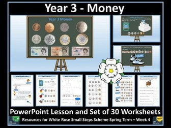 Money Year 3 PowerPoint Lesson and Worksheets - White Rose Maths