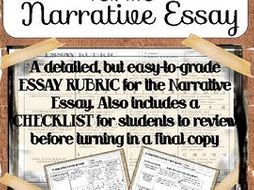 Narrative Essay Writing: Easy to Grade Rubric with Student Review Checklist