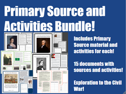 United States History Primary Source & Activities Bundle
