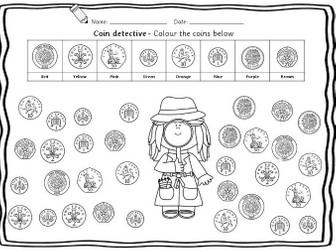 Reception/Year 1 Autumn term UK coin value - 10 beginners worksheets with coin flashcards