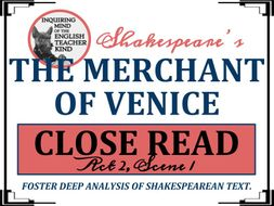 Shakespeare's The Merchant of Venice Close Reading for Act 2, Scene 1