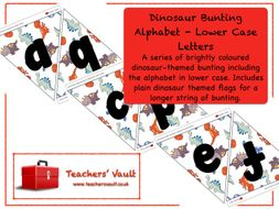 Dinosaur Bunting Alphabet - Lower Case Letters