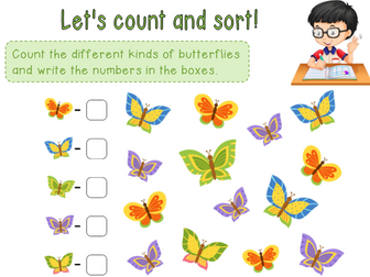 Counting and sorting - Four page worksheet
