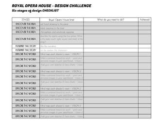 Royal Opera House Creative Design Challenge MAKE UP 6 stages sketchbook checklist