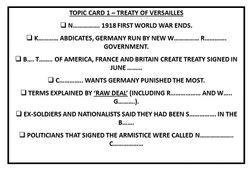 Nazi Germany: Topic Card Gap Fills