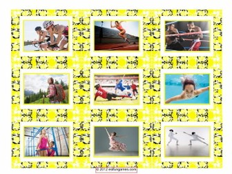 Sports & Exercise Cards 4 Pages = 36 Cards