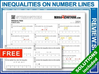Inequalities and Number Lines (Progressive Worksheets)
