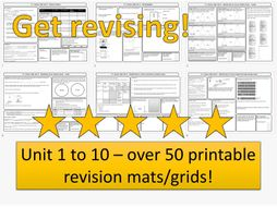 AQA GCSE PowerPoint Revision Mat Bundle for Chemistry Unit 1-10  - Now with completed answer grids!