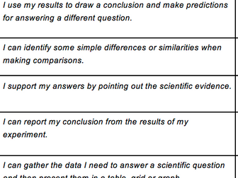 Year 3 Science Child Speak Targets NC 2014 Assessment