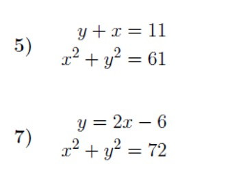 Simultaneous Equations – One Linear, One Quadratic worksheet (with solutions)