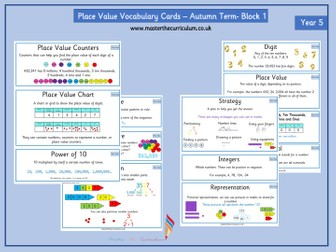 Year 5 Maths Vocabulary cards - Place Value- Autumn Term- Block 1- Supports White Rose Teaching