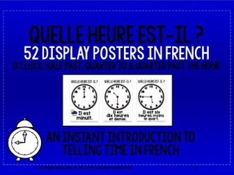 FRENCH TELLING TIME - 52 DISPLAY POSTERS / FLASHCARDS (1)