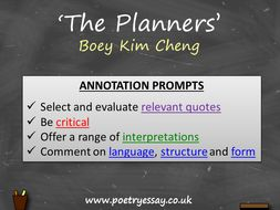 Boey Kim Cheng – 'The Planners' – Annotation / Planning Table / Questions / Booklet