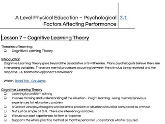 Skill Acquisition - Learning Theories