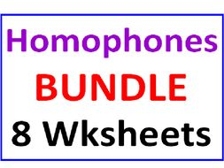 Homophones BUNDLE 8 Worksheets