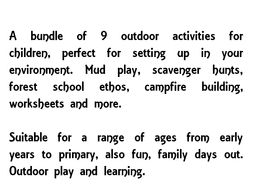 Pack of 9 outdoor activities