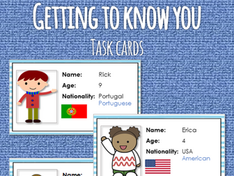 ESL Passport game - Getting to know you task cards and questionnaire