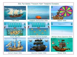Treasure Hunt English PowerPoint Game Template FREE READ ONLY SHOW