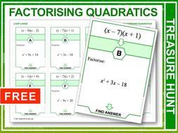 Factorising Quadratics  (Treasure Hunt)