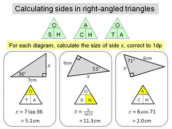 Trigonometry - SOHCAHTOA finding sides