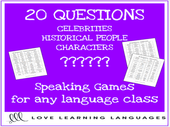 20 questions games for any language class - Celebrities, Historical Figures, Characters