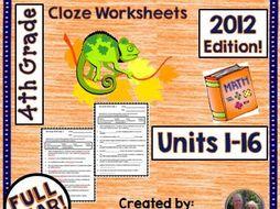 enVision 4th Grade Common Core 2012 Cloze Worksheets Topics 1-16