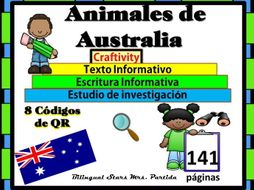 Animales de AUSTRALIA Australian animals Reading Writ QRCodes ResearchText Art