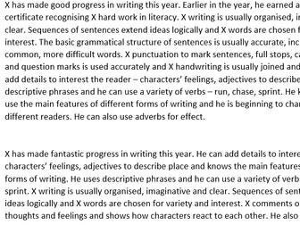 Writing report comment bank KS2
