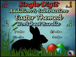 Single Digit Addition and Subtraction - Easter Worksheet Bundle (60 Pages)