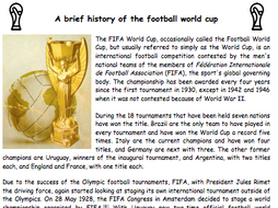 World Cup Football 2018 Activities and Resources and Worksheets - English Activities