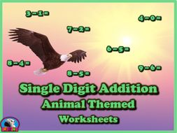 Single Digit Addition - Animal Themed Worksheets - Horizontal