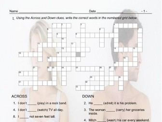 Present Simple Positive & Negative Statements Interactive Crossword Puzzle  for Google Apps