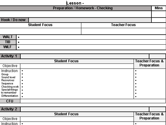 template for lesson plans