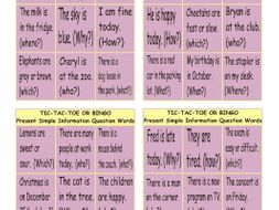 Present Simple with Question Words Tic-Tac-Toe or Bingo Game