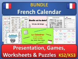 French Calendar BUNDLE (Days, Months, Dates)